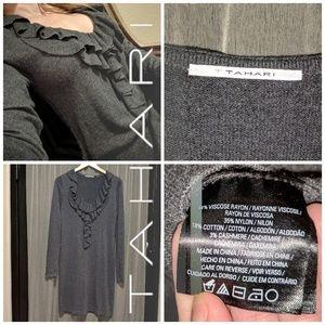 Tahari Grey Ruffle Knit Midi Dress M